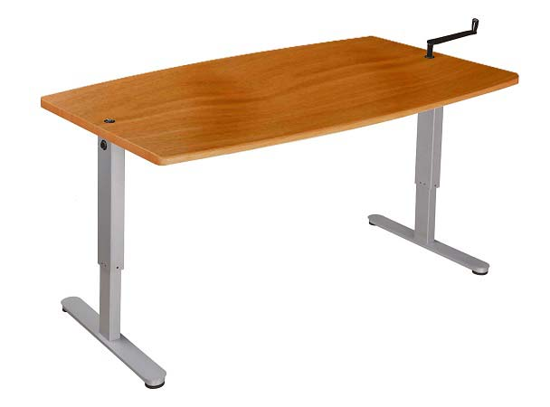 Hand Crank Height adjustable sit/stand desk. Bespoke finish tops