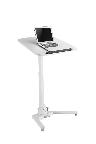 Mobile, laptop sit to standing desk with a tilting work top.