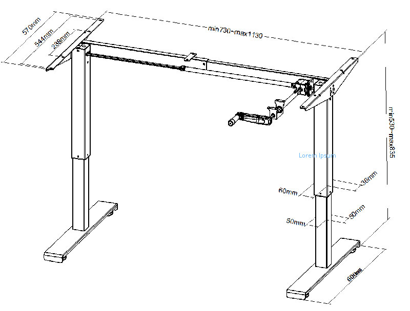 Technical drawing of junior height adjustable student table